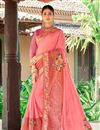 image of Print Designs On Function Wear Georgette Fabric Saree In Pink