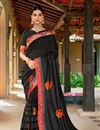 image of Printed Art Silk Fabric Designer Saree With Blouse In Black