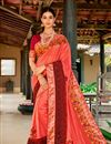 image of Satin Silk Fabric Ethnic Wear Printed Saree In Peach With Blouse