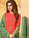 photo of Embroidery Work On Cotton Fabric Casual Wear Crimson Color Straight Cut Suit With Banarasi Dupatta