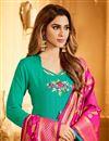 photo of Pleasant Cotton Fabric Light Turquoise Color Designer Embroidered Straight Cut Salwar Kameez With Banarasi Dupatta