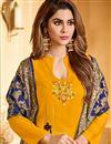 photo of Stunning Cotton Fabric Designer Straight Cut Salwar Kameez In Mustard Color With Banarasi Dupatta