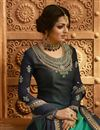 photo of Drashti Dhami Navy Blue Georgette Embroidered Designer Function Wear Sharara Top Lehenga