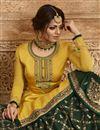 photo of Drashti Dhami Designer Function Wear Yellow Embroidered Georgette Sharara Top Lehenga
