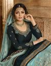 photo of Drashti Dhami Georgette Designer Function Wear Navy Blue Sharara Top Lehenga With Embroidery Work