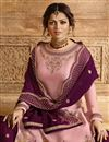 photo of Drashti Dhami Designer Function Wear Pink Embroidered Georgette Sharara Top Lehenga
