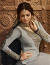photo of Drashti Dhami Designer Function Wear Grey Georgette Sharara Top Lehenga With Embroidery