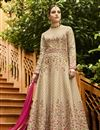 image of Embroidery Designs On Beige Art Silk Function Wear Anarkali Salwar Suit