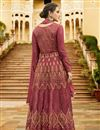 photo of Art Silk Dark Pink Function Wear Anarkali Salwar Kameez With Embroidery Designs