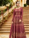 image of Art Silk Dark Pink Function Wear Anarkali Salwar Kameez With Embroidery Designs