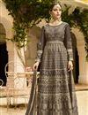 image of Embroidery Work On Dark Beige Art Silk Wedding Wear Anarkali Salwar Suit