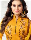photo of Mustard Festive Wear Fancy Art Silk Straight Cut Suit With Printed Dupatta