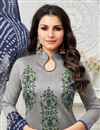 photo of Grey Art Silk Fancy Straight Cut Festive Wear Dress With Printed Dupatta