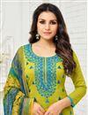 photo of Green Fancy Festive Wear Straight Cut Suit In Art Silk With Printed Dupatta