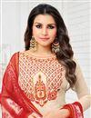 photo of Festive Wear Cream Art Silk Straight Cut Fancy Salwar Suit With Printed Dupatta