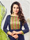photo of Art Silk Navy Blue Fancy Straight Cut Festive Wear Dress With Printed Dupatta