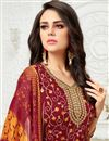 photo of Maroon Art Silk Fancy Straight Cut Festive Wear Dress With Printed Dupatta
