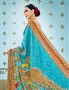 photo of Digital Prints Work On Banarasi Silk Fabric Sky Blue Designer Saree With Alluring Blouse