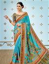 image of Digital Prints Work On Banarasi Silk Fabric Sky Blue Designer Saree With Alluring Blouse