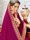 photo of Radiant Embroidered Border Work On Chiffon Fabric Magenta Function Wear Fancy Saree