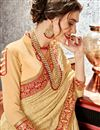 photo of Charismatic Chiffon Fabric Cream Embroidered Border Work Party Wear Saree