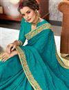 photo of Soothing Sky Blue Embroidered Party Wear Chiffon Fabric Saree