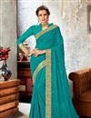 image of Chiffon Fabric Embroidered Border Work Designs On Sky Blue Occasion Wear Beatific Saree