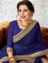 photo of Beautiful Embroidered Party Wear Designer Blue Saree in Chiffon Fabric