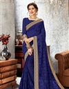 image of Beautiful Embroidered Party Wear Designer Blue Saree in Chiffon Fabric