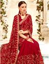 photo of Embroidery Work On Maroon Designer Saree In Georgette Fabric With Designer Blouse