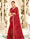 image of Embroidery Work On Maroon Designer Saree In Georgette Fabric With Designer Blouse