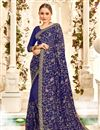 image of Georgette Saree In Blue With Embroidery Work And Party Wear Blouse