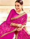 photo of Magenta Georgette Saree With Embroidery Work And Beautiful Blouse