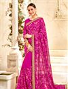 image of Magenta Georgette Saree With Embroidery Work And Beautiful Blouse
