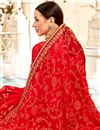 photo of Saree In Red Georgette Fabric With Embroidery Work And Attractive Blouse