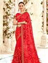 image of Saree In Red Georgette Fabric With Embroidery Work And Attractive Blouse