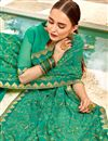 photo of Gorgeous Light Turquoise Traditional Georgette Fabric Party Wear Saree