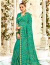 image of Gorgeous Light Turquoise Traditional Georgette Fabric Party Wear Saree