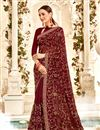 image of Stunning Brown Traditional Georgette Fabric Saree For Function