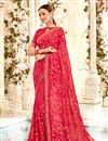 image of Traditional Spectacular Pink Georgette Fabric Party Wear Saree