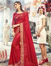 image of Red Sangeet Function Wear Designer Embroidered Saree In Georgette