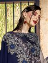 photo of Georgette Designer Sangeet Function Wear Navy Blue Embroidered Saree