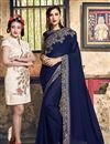 image of Georgette Designer Sangeet Function Wear Navy Blue Embroidered Saree
