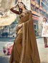 image of Designer Dark Beige Art Silk Sangeet Function Wear Embroidered Saree