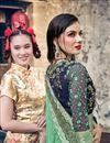 photo of Satin Silk Sangeet Function Wear Sea Green Embroidered Designer Saree