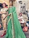 image of Satin Silk Sangeet Function Wear Sea Green Embroidered Designer Saree