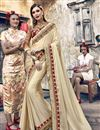 image of Beige Designer Sangeet Function Wear Satin Silk Embroidered Saree