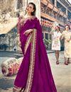 image of Magenta Sangeet Function Wear Embroidered Designer Saree In Georgette