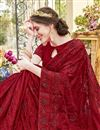 photo of Party Style Chiffon Fabric Embroidered Designer Red Saree