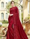 image of Red Party Style Designer Embroidered Saree In Chiffon Fabric